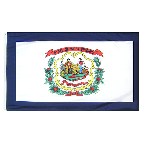 West Virginia State Nylon Outdoors Flag- Sizes 2' to 10' Length