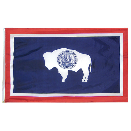 Wyoming State Nylon Outdoors Flag- Sizes 2' to 10' Length