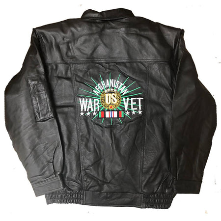 Afghanistan War US Veteran Leather Jacket-Military Republic