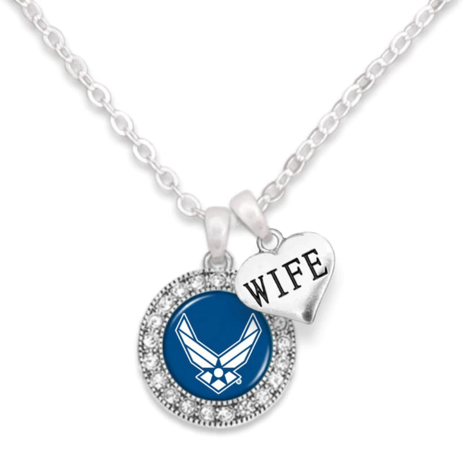 Air Force Crystal Necklace - Wife