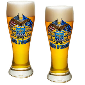 Air Force Double Flag Pilsner Glass Set-Military Republic