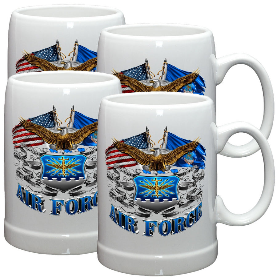 Air Force Double Flag Stoneware Mug Set-Military Republic