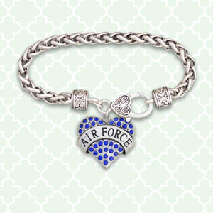 Air Force Heart Braided Clasp Bracelet-Military Republic