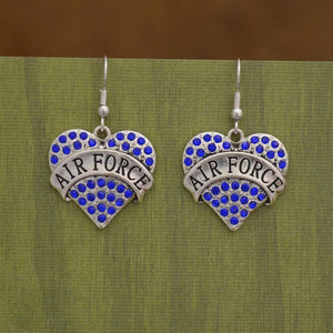Air Force Heart Earrings-Military Republic