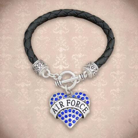 Air Force Heart Leather Bracelet-Military Republic