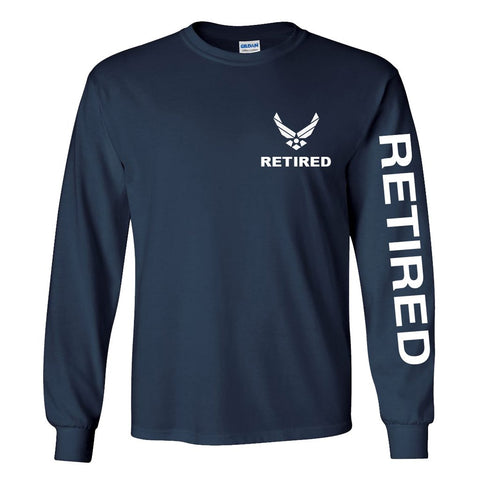 Air Force Retired Long Sleeve Shirt -Navy Blue