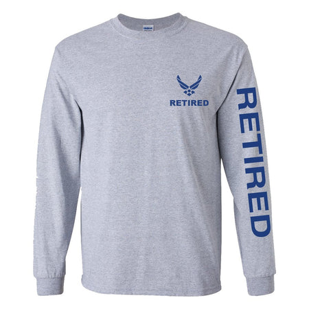 Air Force Retired Sport Long Sleeve Shirt -Grey