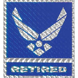 Air Force Retired with Wing Logo 4 inch Square Prism Decal