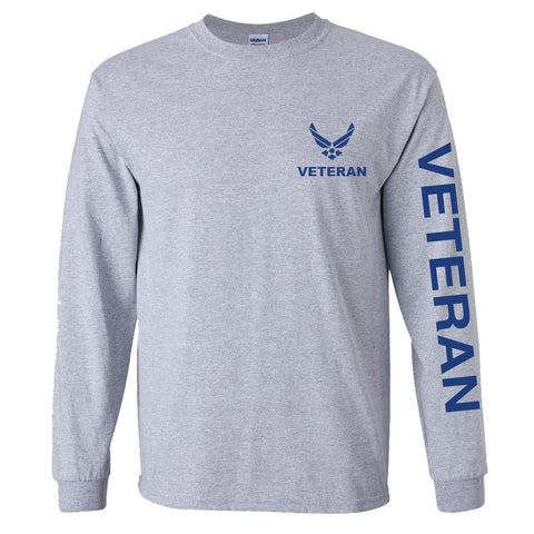 Air Force Veteran Sport Long Sleeve Shirt - Grey
