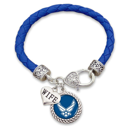 Air Force Wings Logo Relationship Leather Bracelet - Mom/Wife