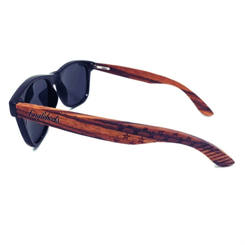 Handcrafted Stars & Stripes Zebrawood Sunglasses with Polarized UV Protection Lenses