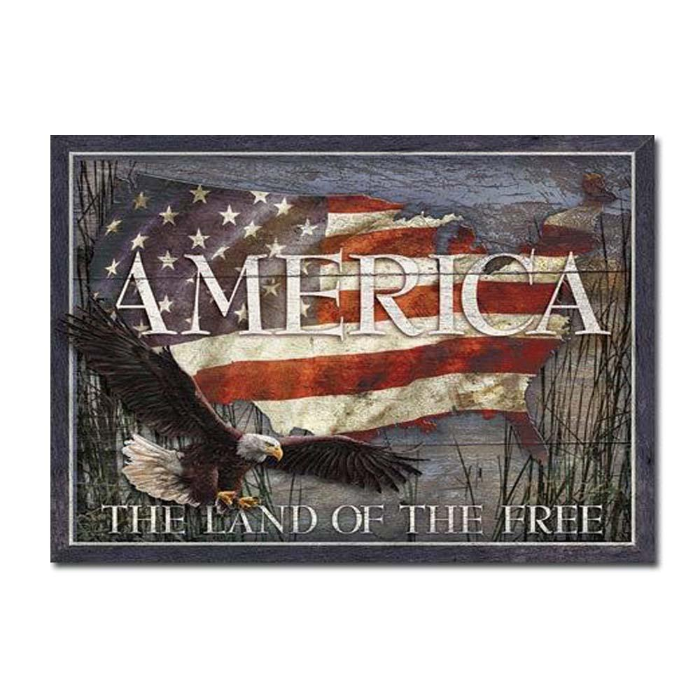 America - Land of Free Tin Sign-Military Republic