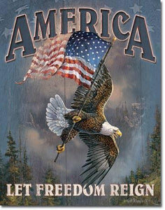 America - Let Freedom Reign Tin Sign-Military Republic