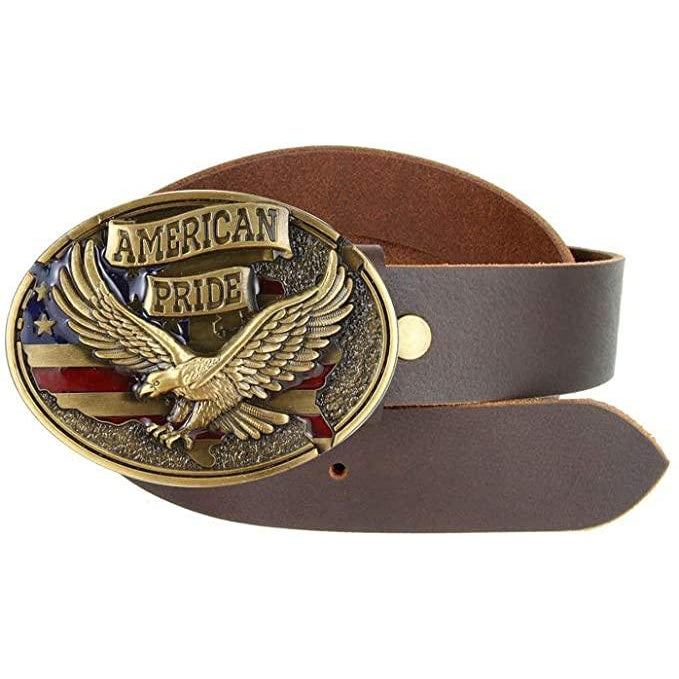American Pride - Eagle & Map Zinc Alloy Patriotic Belt Buckle