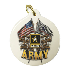 Army Double Flag Christmas Ornament-Military Republic