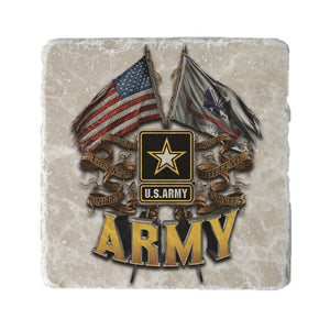 Army Double Flag Coaster-Military Republic