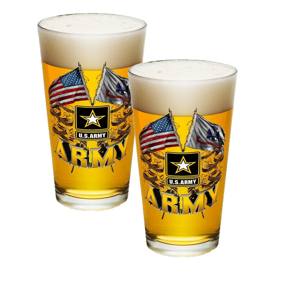 Army Double Flag Pint Glasses-Military Republic