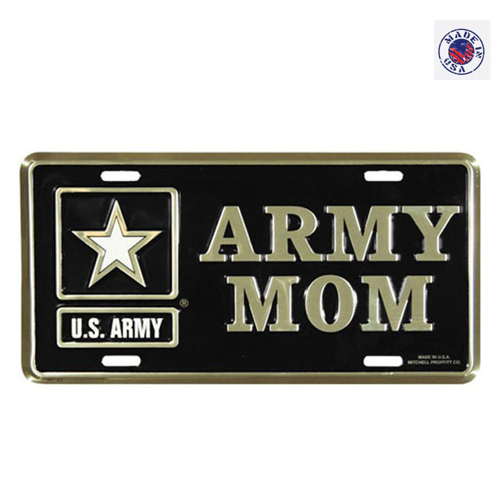 Army Mom License Plate with  with US Army Star Logo in Gold on Black Metal License Plate