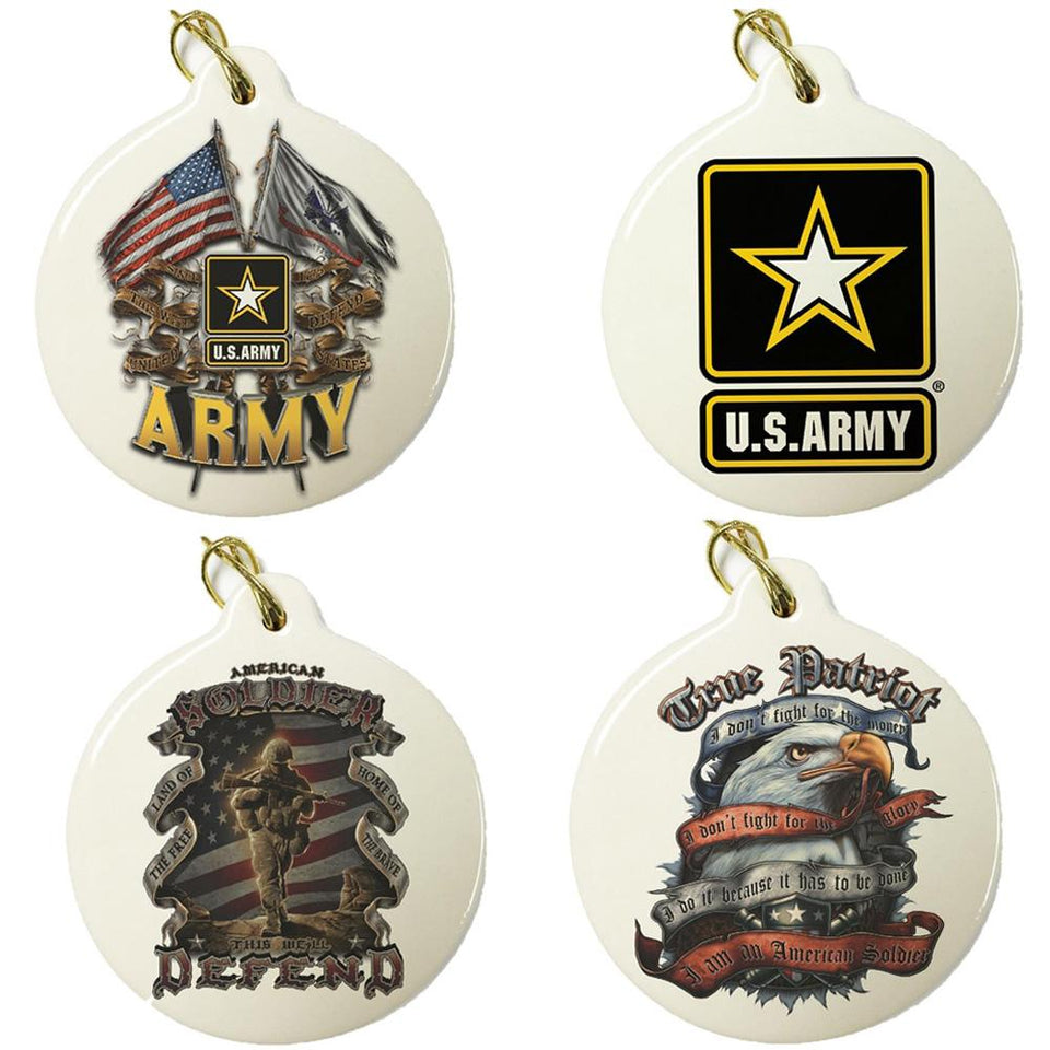 Army Set Of 4 Best Seller Christmas Ornaments