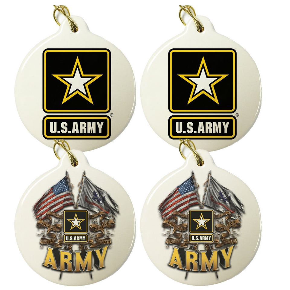 Army Set Of 4 Mixed Christmas Ornament Set-Military Republic