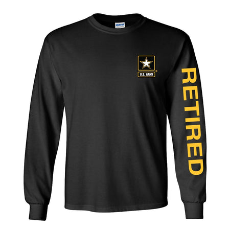 Army Star Retired Long Sleeve Shirt - Black