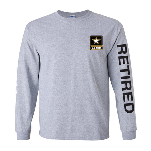 Army Star Retired Sport Long Sleeve Shirt- Grey