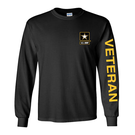 Army Star Veteran Long Sleeve Shirt- Black