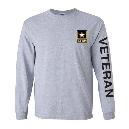Army Star Veteran Sport Long Sleeve Shirt- Grey