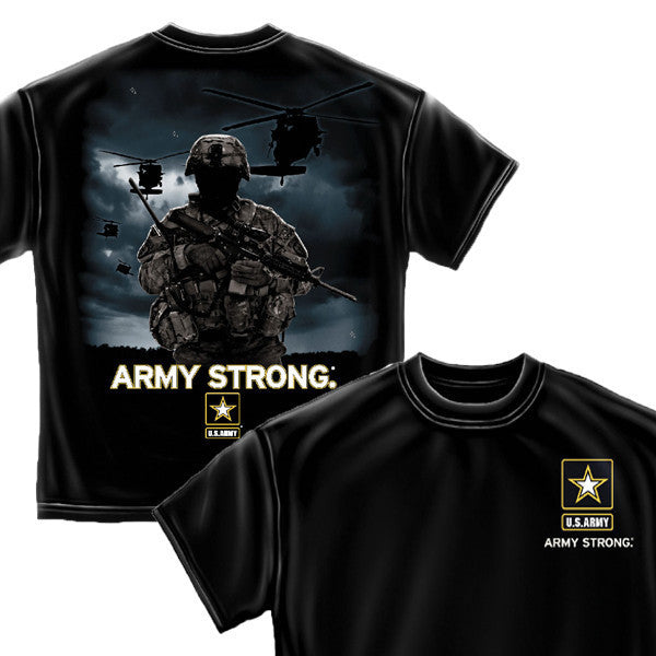 Army Strong Helicopter Soldier Black T-Shirt-Military Republic