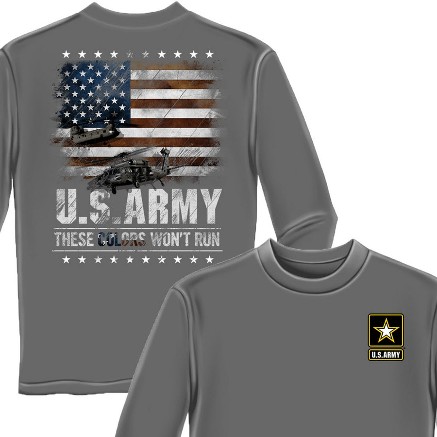 Army These Colors Won't Run Long Sleeve Shirt-Military Republic