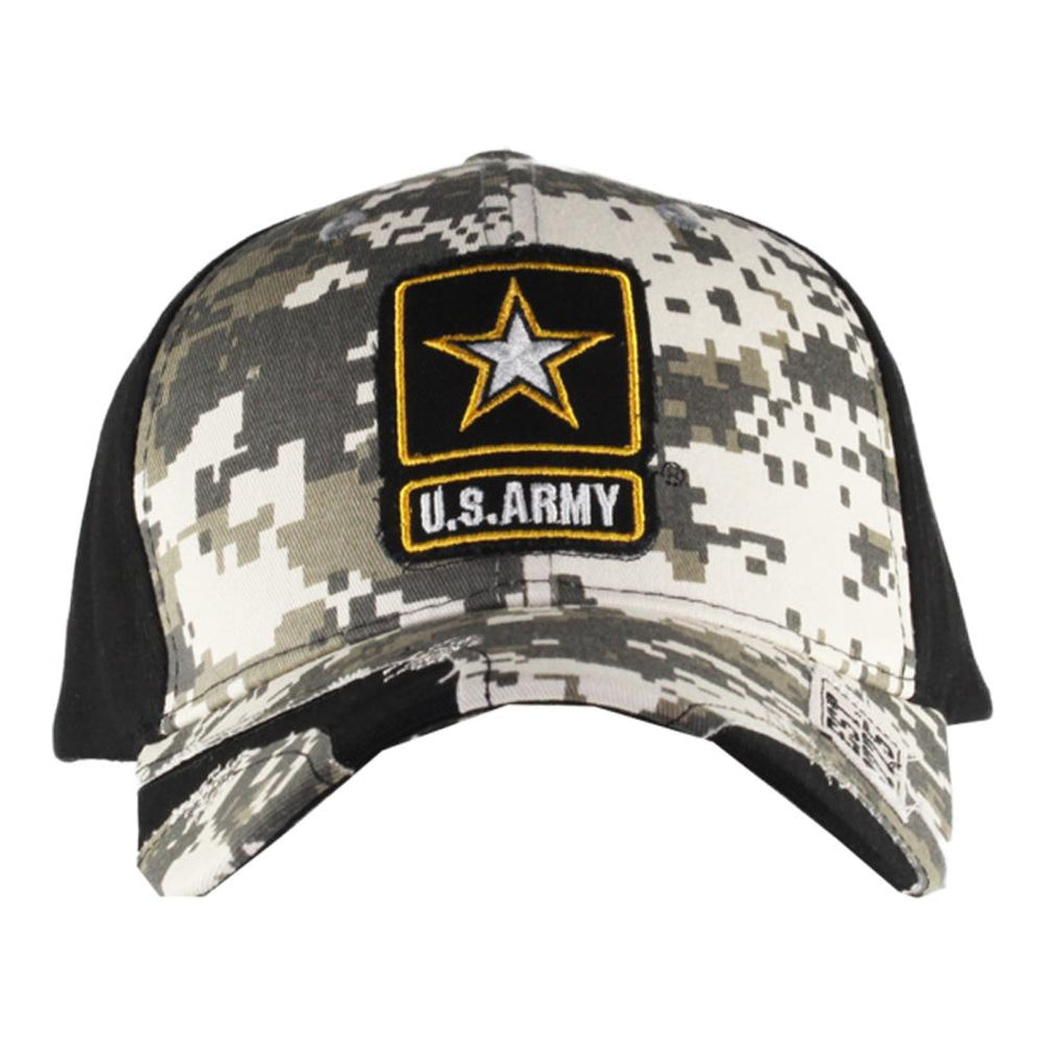 Black Streak Camo Stressed US Army Cap