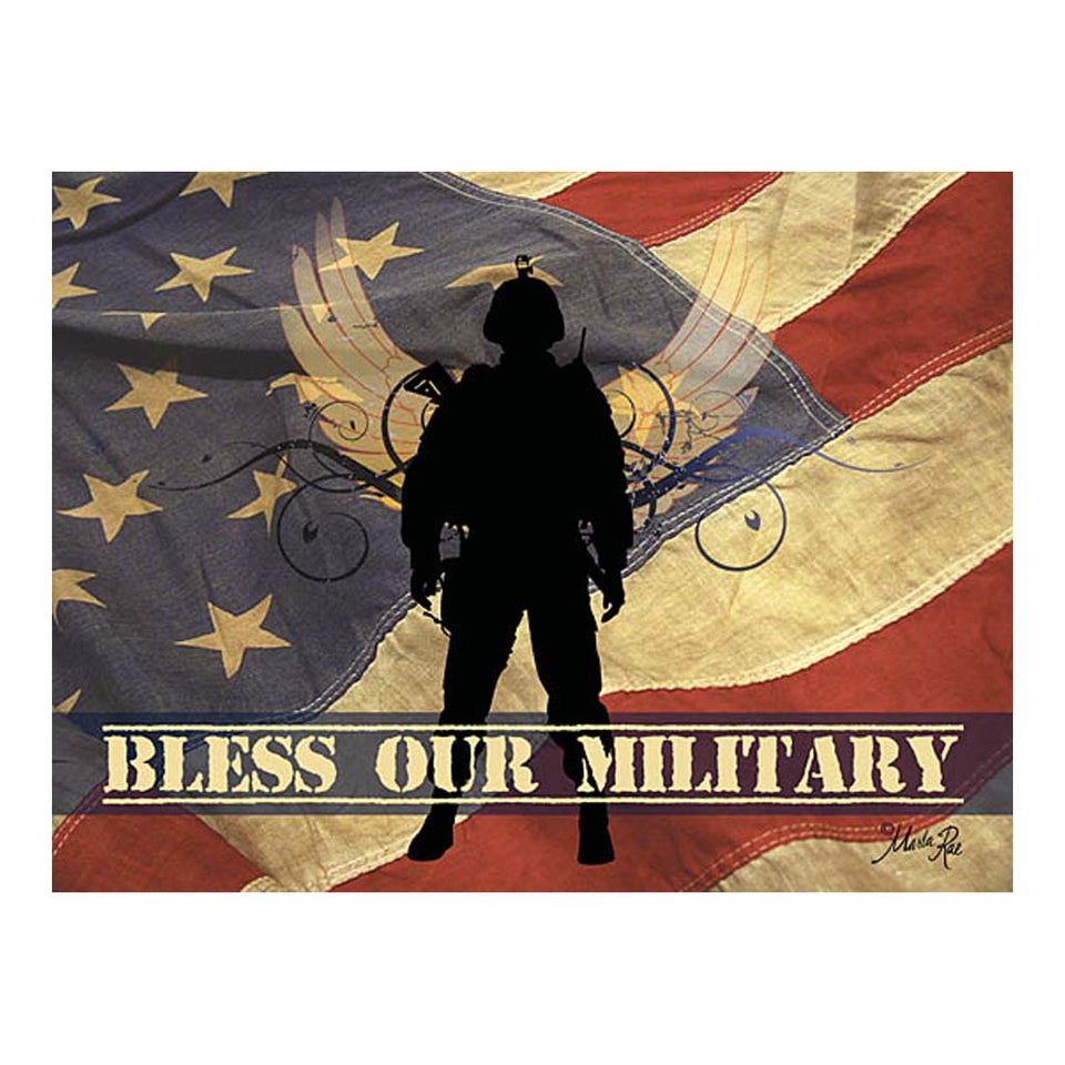 Bless Our Military Wooden Block Sign
