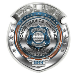 Chrome Police Badge Decal-Military Republic