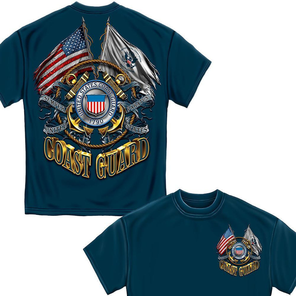 Coast Guard Double Flag T-Shirt-Military Republic