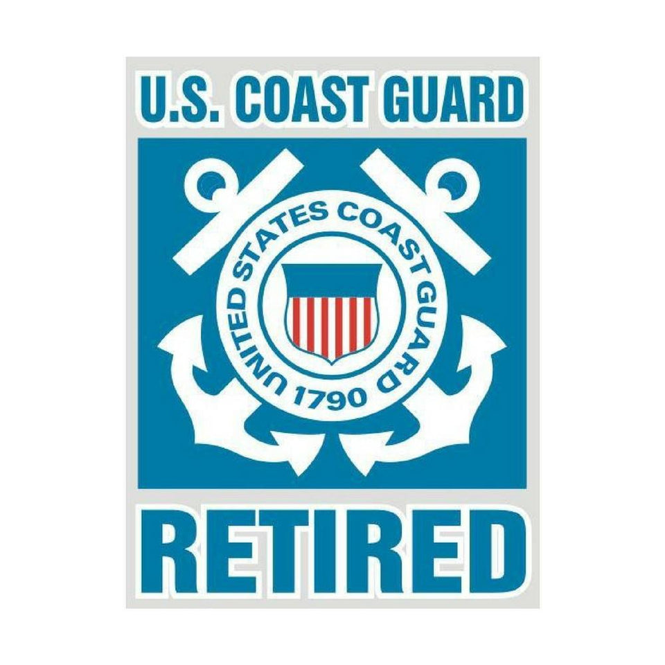 Coast Guard Retired Bold Type Decal-Military Republic
