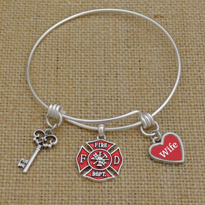 Custom Loved One Firefighter Memory Wire Bracelet-Military Republic