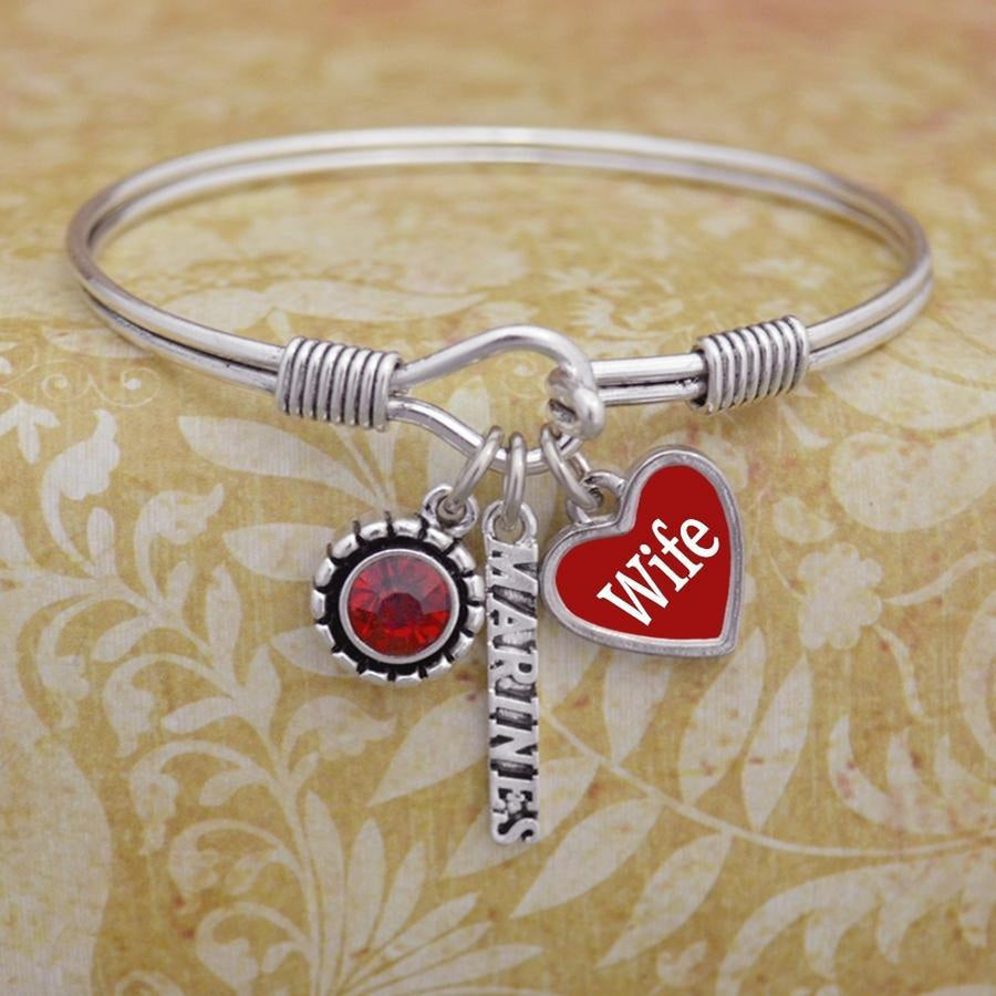 Custom Loved one Marines 3 Charm Wire Bangle-Military Republic