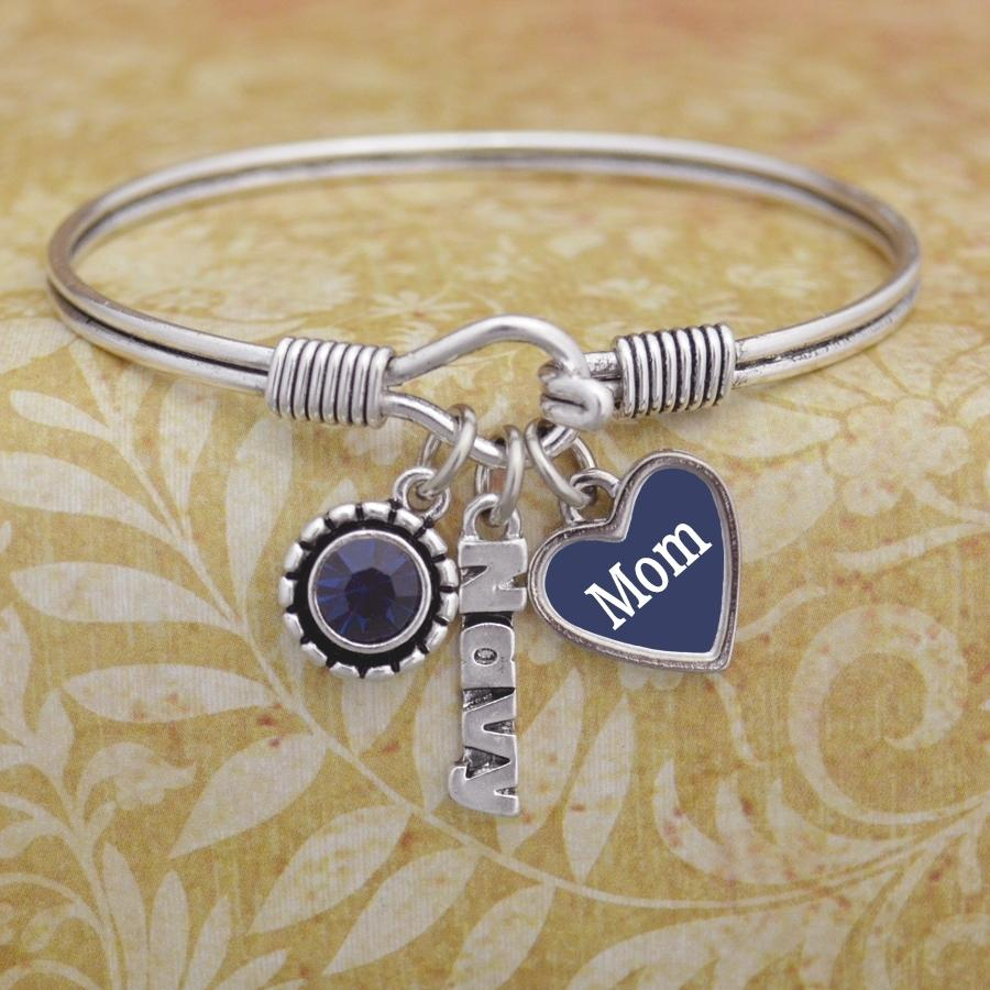 Custom Loved One Navy 3 Charm Bangle