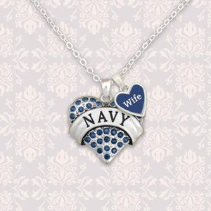 Custom Loved One Navy Heart Necklace