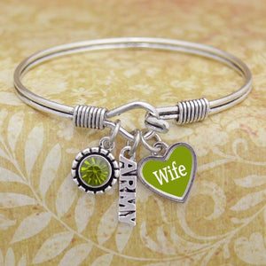 Custom Loved One US Army 3 Charm Bangle-Military Republic