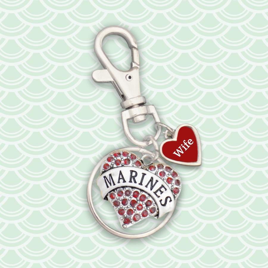 Custom Marines Heart Key Chain-Military Republic