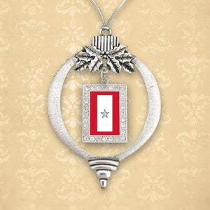 Custom Silver Star Christmas Ornament-Military Republic