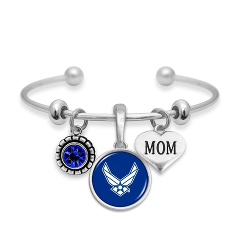 Custom U.S. Air Force 3 Charm Bracelet for Mom