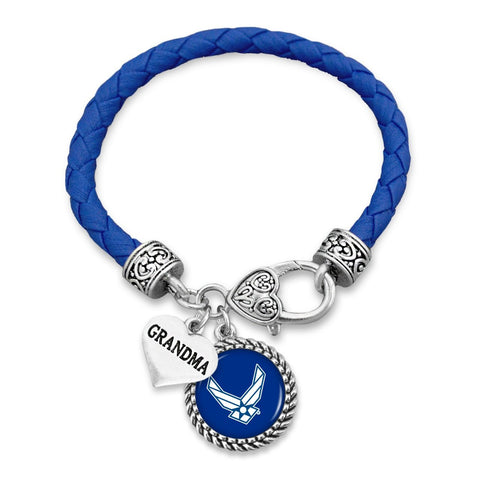 Custom U.S. Air Force Leather Bracelet for Grandma