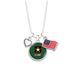 Custom U.S. Army 3 Charm Necklace with American Flag