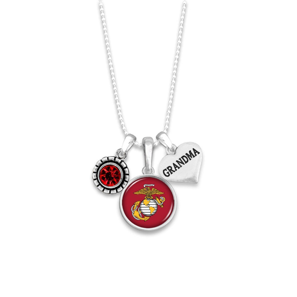 Custom U.S. Marines 3 Charm Necklace for Grandma