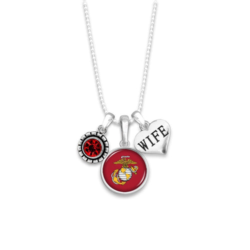Custom U.S. Marines 3 Charm Necklace for Wife