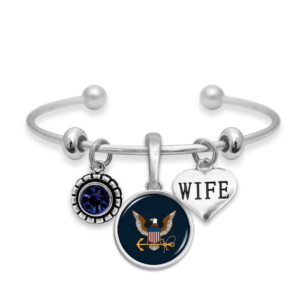 Custom U.S. Navy 3 Charm Bracelet for Wife
