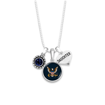 Custom U.S. Navy 3 Charm Necklace for Daughter