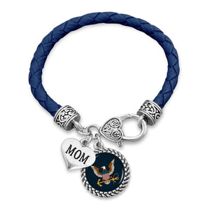 Custom U.S. Navy Leather Bracelet for Mom